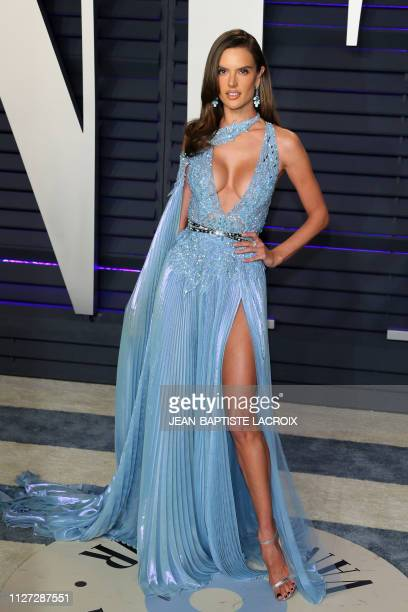 Brazilian model Alessandra Ambrosio attends the 2019 Vanity Fair Oscar Party following the 91st Academy Awards at The Wallis Annenberg Center for the...