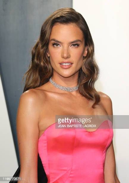 Brazilian model Alessandra Ambrosio attends the 2020 Vanity Fair Oscar Party following the 92nd Oscars at The Wallis Annenberg Center for the...
