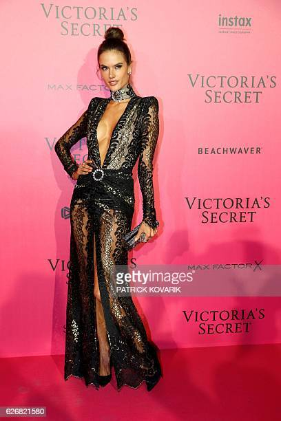 Brazilian model Alessandra Ambrosio poses after taking part in the 2016 Victoria's Secret Fashion Show at the Grand Palais in Paris on November 30...
