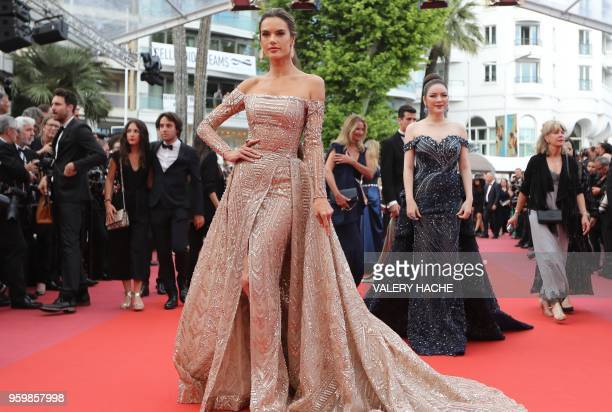 Brazilian model Alessandra Ambrosio poses as she arrives on May 18 2018 for the screening of the film 'The Wild Pear Tree ' at the 71st edition of...
