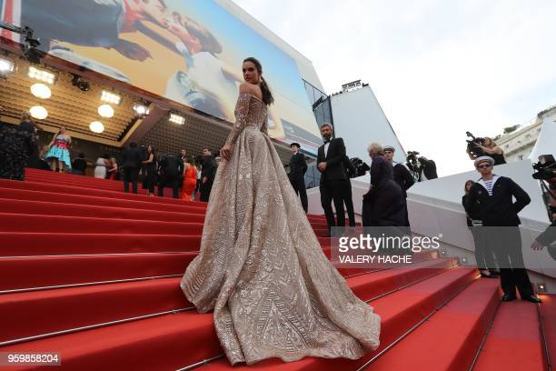 TOPSHOT Brazilian model Alessandra Ambrosio poses as she arrives on May 18 2018 for the screening of the film 'The Wild Pear Tree ' at the 71st...