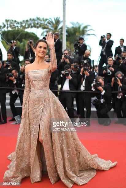 Brazilian model Alessandra Ambrosio poses as she arrives on May 18 2018 for the screening of the film The Wild Pear Tree at the 71st edition of the...