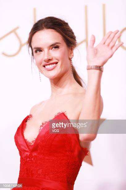 Brazilian model Alessandra Ambrosio poses during an Omega new product launch event on October 23 2018 in Shanghai China