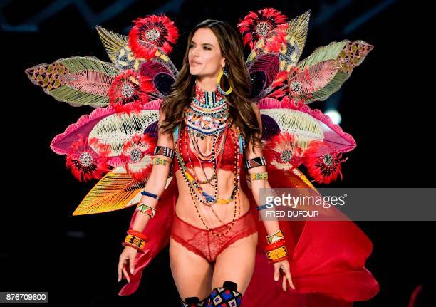 Brazilian model Alessandra Ambrosio presents a creation during the 2017 Victoria's Secret Fashion Show in Shanghai on November 20 2017 / AFP PHOTO /...