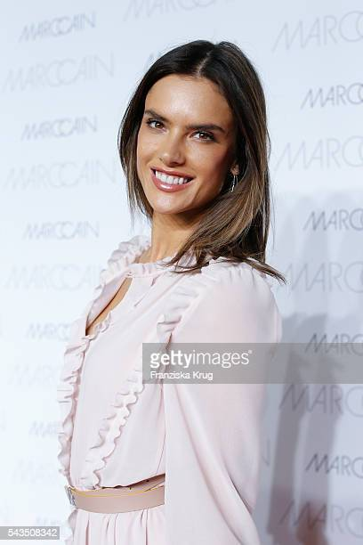 Brazilian model and actress Alessandra Ambrosio attends the Marc Cain show spring/summer 2017 at CITY CUBE Panorama Bar on June 28 2016 in Berlin...