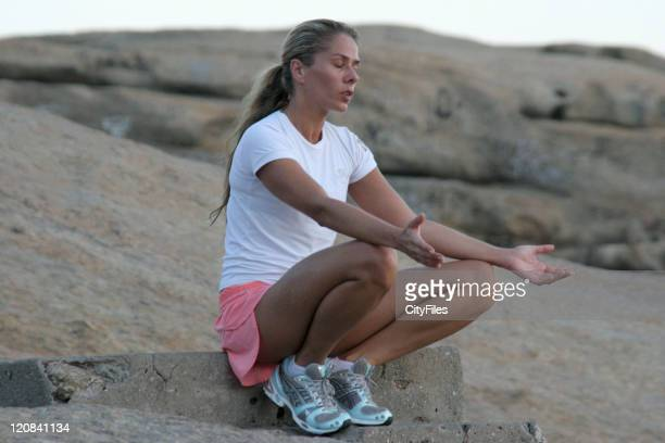 Brazilian model and TV presenter Adriane Galisteu who became famous outside brazil for her romance with Ayrton Senna doing some jogging and yoga...