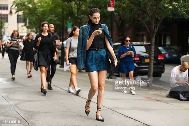 Brazilian model Bruna Tenorio exits the Tome show at Skylight Clarkson Sq on September 10 2015 in New York City Bruna wears a brokenin denim Ralph...