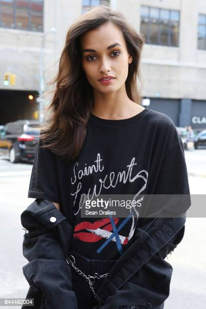 Brazilian model Gizele Oliveira poses after walking in fashion shows at Skylight Clarkson Square in SoHo during New York Fashion Week on September 08...