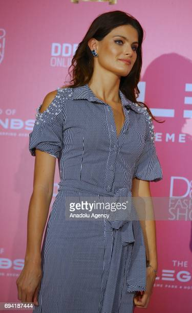 Brazilian model Isabeli Fontana attends a press conference during the Dosso Dossi Fashion Show in Antalya, Turkey on June 09, 2017.