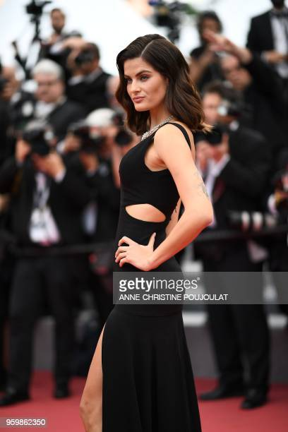 Brazilian model Isabeli Fontana poses as she arrives on May 18 2018 for the screening of the film The Wild Pear Tree at the 71st edition of the...