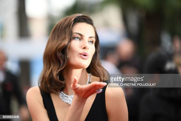 TOPSHOT Brazilian model Isabeli Fontana poses as she arrives on May 18 2018 for the screening of the film The Wild Pear Tree at the 71st edition of...
