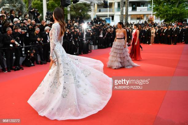 Brazilian model Izabel Goulart and Brazilian actress Bruna Marquezine poses as she arrives on May 13 2018 for the screening of the film 'Sink Or Swim...