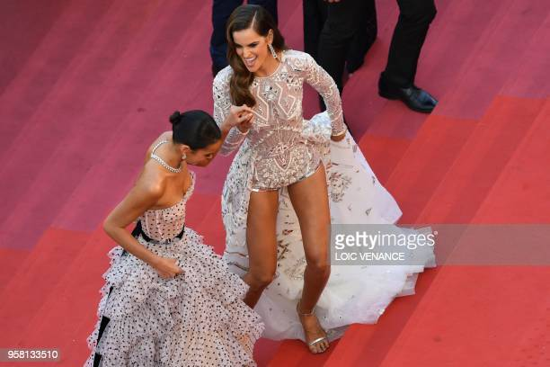 Brazilian model Izabel Goulart and Brazilian actress Bruna Marquezine arrive on May 13 2018 for the screening of the film 'Sink Or Swim ' at the 71st...
