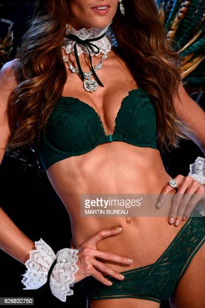 Brazilian model Izabel Goulart presents a creation during the 2016 Victoria's Secret Fashion Show at the Grand Palais in Paris on November 30 2016 /...