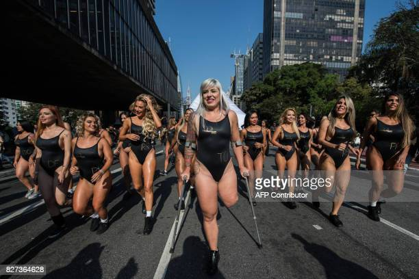 Brazilian model Rubia Machado representative of the state of Tocantins and who had her leg amputated after being run over by an exboyfriend years ago...