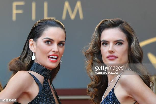 Brazilian models Izabel Goulart and Alessandra Ambrosio pose as they arrive on May 15 2018 for the screening of the film Solo A Star Wars Story at...