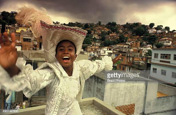 Brazilian music and dancing Samba dancer at Morro da Mangueira a Rio de Janeiro favela Brazil Preparation for the Samba Schools Parade