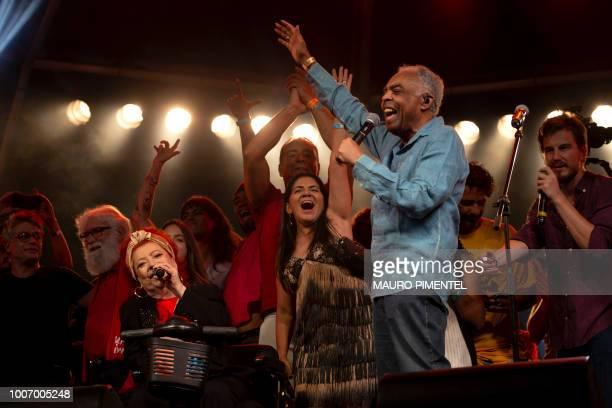 Brazilian musician Beth Carvalho Brazilian musician Gilberto Gil and Brazilian artists attend the Lula Livre Music Festival in Rio de Janeiro Brazil...