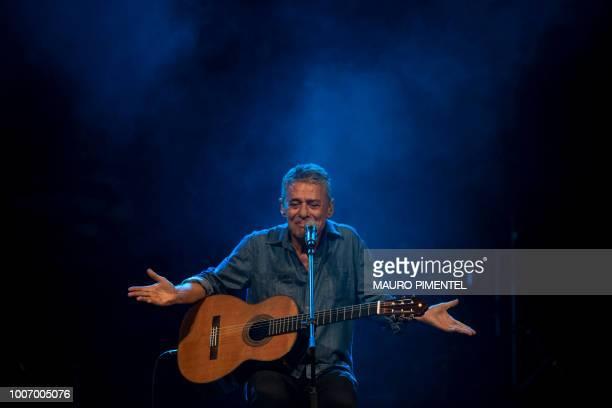 Brazilian musician Chico Buarque performs during the 'Lula Livre' Music Festival in Rio de Janeiro Brazil on July 28 2018 Brazilian musicians called...