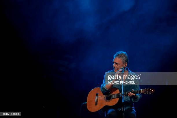 Brazilian musician Chico Buarque performs during the 'Lula Livre' Music Festival in Rio de Janeiro Brazil on July 28 2018 Brazilian musicians called...