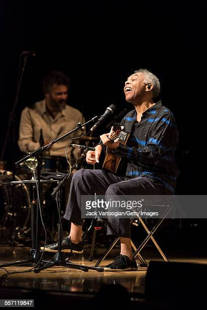 Brazilian musician composer and former Minister of Culture Gilberto Gil performs in his 'Gilbertos Samba' concert at Town Hall New York New York...