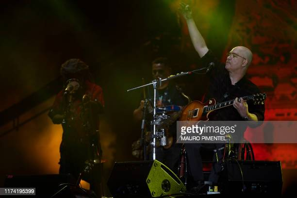 Brazilian musician Herbert Vianna, of rock band Paralamas do Sucesso, performs during the last day of the Rock in Rio music festival at the Olympic...
