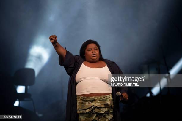 Brazilian musician MC Carol performs performs during the Lula Livre Music Festival in Rio de Janeiro Brazil on July 28 2018 Brazilian musicians...