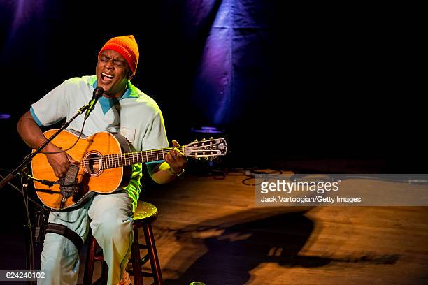 Brazilian musician Seu Jorge plays guitar as he performs 'The Life Aquatic - A Tribute to David Bowie,' presented by World Music Institute and le...