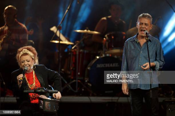 Brazilian musicians Beth Carvalho and Chico Buarque perform during the 'Lula Livre' Music Festival in Rio de Janeiro Brazil on July 28 2018 Brazilian...