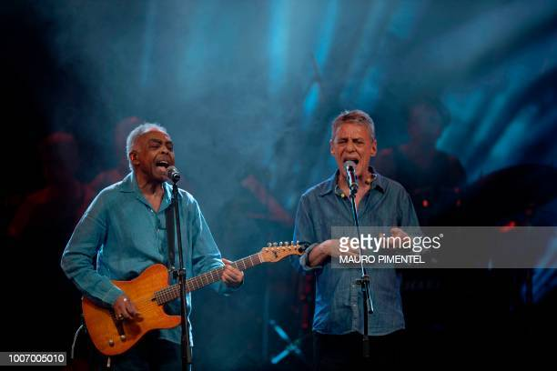 Brazilian musicians Gilberto Gil and Chico Buarque perform during the 'Lula Livre' Music Festival in Rio de Janeiro Brazil on July 28 2018 Brazilian...