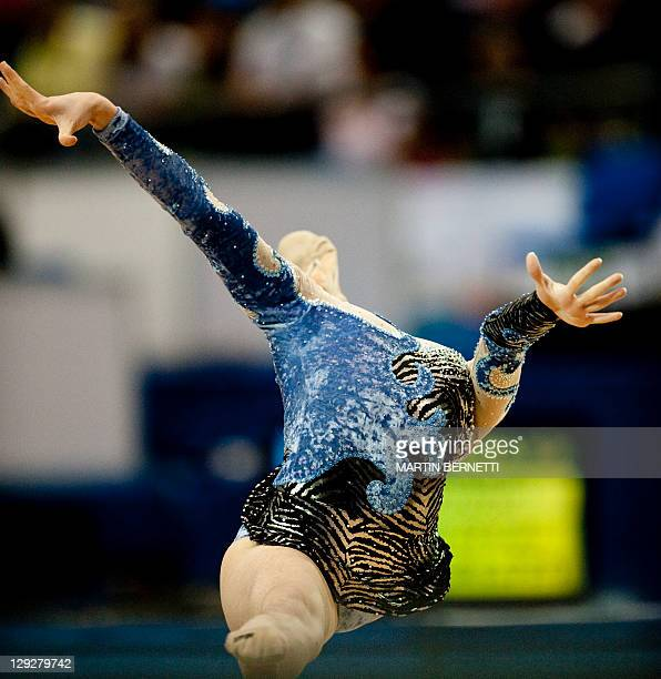 Brazilian Natalia Gaudio performs with the hoop in the individual competition of Rhythmic Gymnastics during the XVI PanAmerican Games Guadalajara...