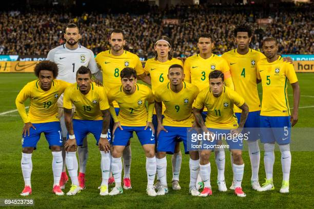 Brazilian National Football Team line up for a team shot during the International Friendly Match Between Brazilian National Football Team and the...