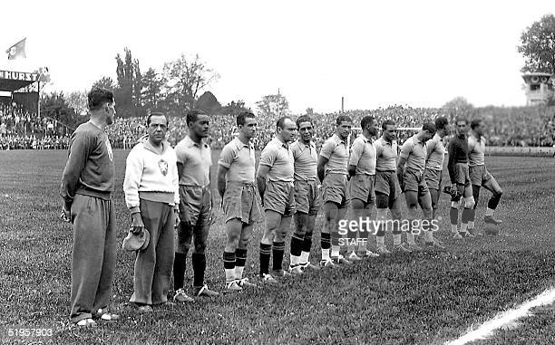 Brazilian national soccer team players are lined up before the start of their World Cup preliminary round soccer match against Poland 05 June 1938 in...