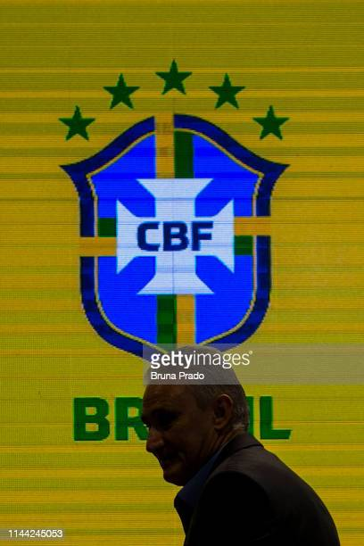 Brazilian national team coach Tite speaks during the announcement of the team's squad for 2019 CONMEBOL Copa América on May 17, 2019 at the...