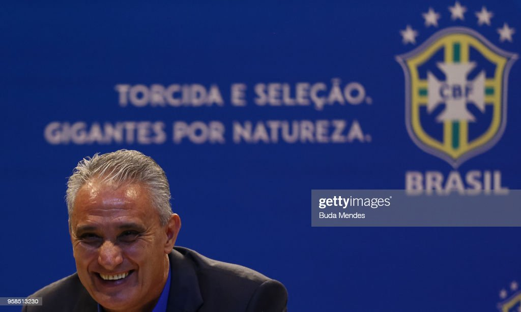 Brazilian national team coach Tite speaks during the announcement of the team's squad for 2018 FIFA World Cup Russia on May 14, 2018 at the headquarters of the Brazilian Football Confederation (CBF) in Rio de Janeiro, Brazil.