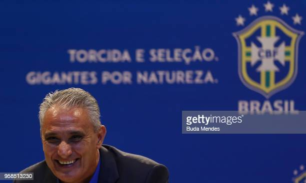 Brazilian national team coach Tite speaks during the announcement of the team's squad for 2018 FIFA World Cup Russia on May 14 2018 at the...