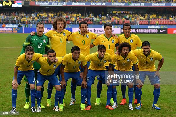 Brazilian national team players poses before the start of a friendly football match against Serbia in preparation for FIFA World Cup Brazil 2014 at...