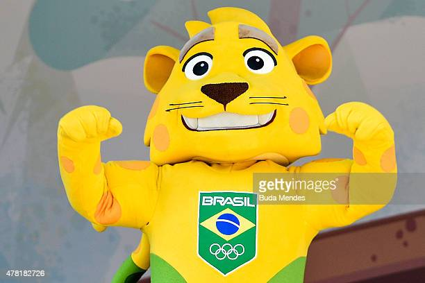 Brazilian national teams mascot Ginga is introduced by the Brazilian Local Organizing Committee at Parque Aquatico Maria Lenk on June 23, 2015 in Rio...