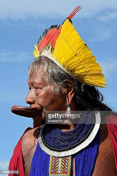 Brazilian native Chief Raoni Metuktire arrives to the National Congress in Brasilia to attend a session to honor native people during the National...