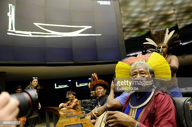 Brazilian native chief Raoni Metuktire attends a session to honor native people at the National Congress in Brasilia during the National Mobilization...