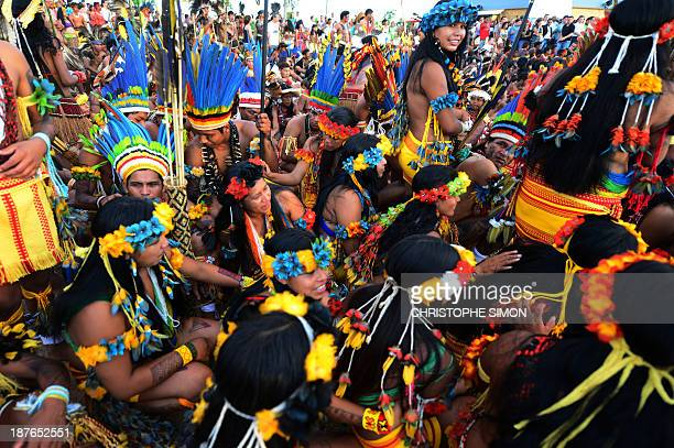 Brazilian natives take part in the sacred fire ceremony on the eve of the official opening ceremony of the first International Games of Indigenous...
