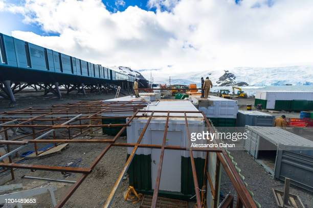 Brazilian Navy officers deactivate the generator house of the Antarctic Emergency Module created after the fire at Comandante Ferraz Station in 2012...
