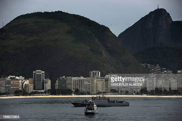 Brazilian Navy vessels takes part in a terrorist attack drill as part of the security measures for the upcoming FIFA Confederations Cup the World...