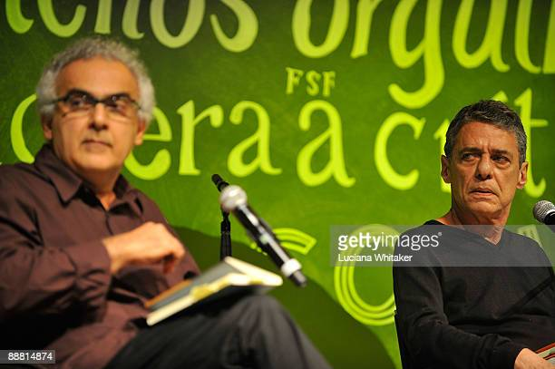 Brazilian novelist Milton Hatoum and musician and author Chico Buarque during the talk 'Scenes From a Brazilian Minuet' as a part of the third day of...