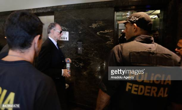 Brazilian Olympic Committee President Carlos Arthur Nuzman arrives to testify at the headquarters of the Federal Police on the purchase of votes for...