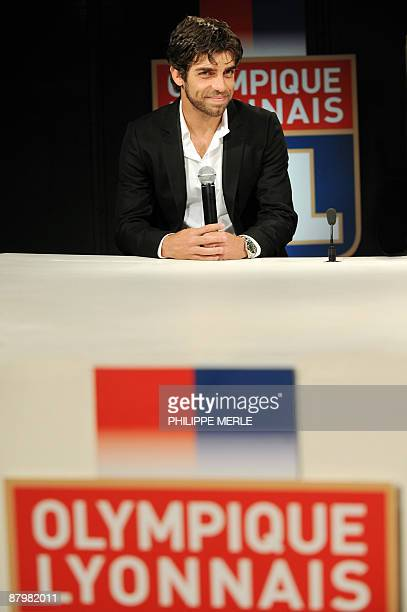 Brazilian Olympique Lyonnais' captain and midfielder Juninho gives a press conference to announce his departure from his current team on May 26 2009...