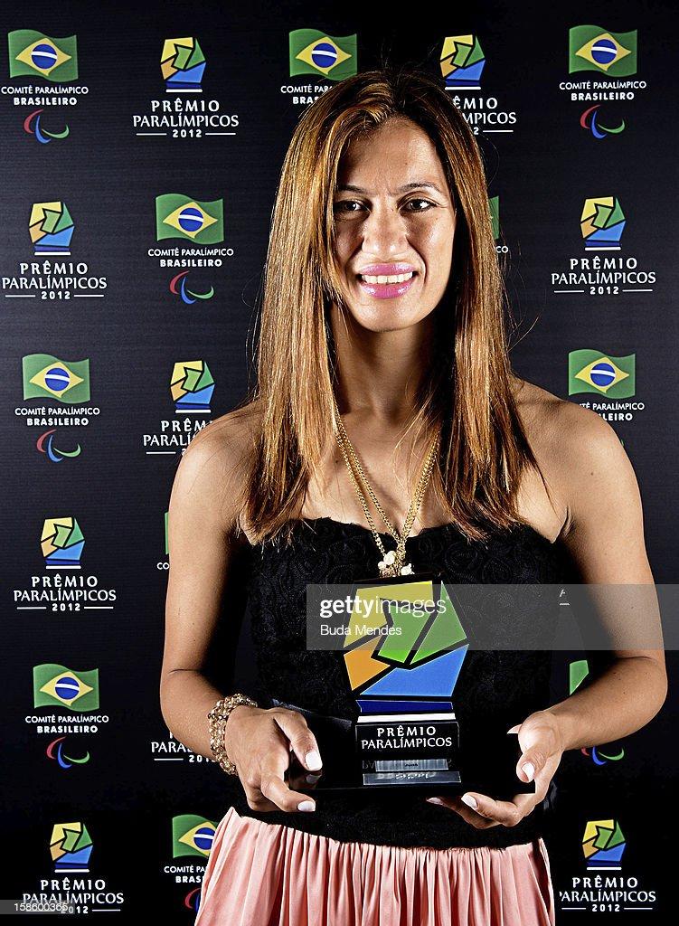 Brazilian paralympic Lucia da Silva Teixeira pose for a photo during the ceremony of Brazil Paralympics Award 2012 at the Marina da Gloria on December 19, 2012 in Rio de Janeiro, Brazil.