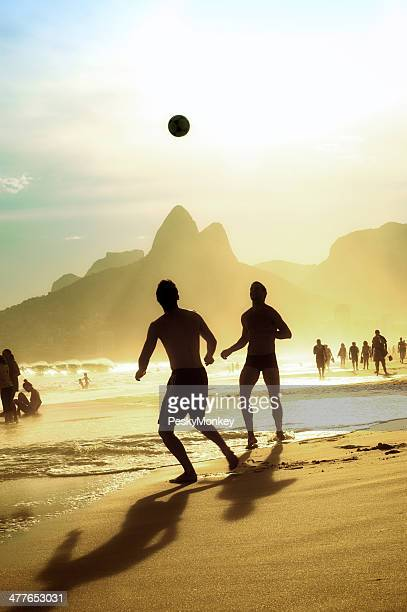 Brazilian People Playing Football Soccer Ipanema Beach Rio Janeiro Brazil