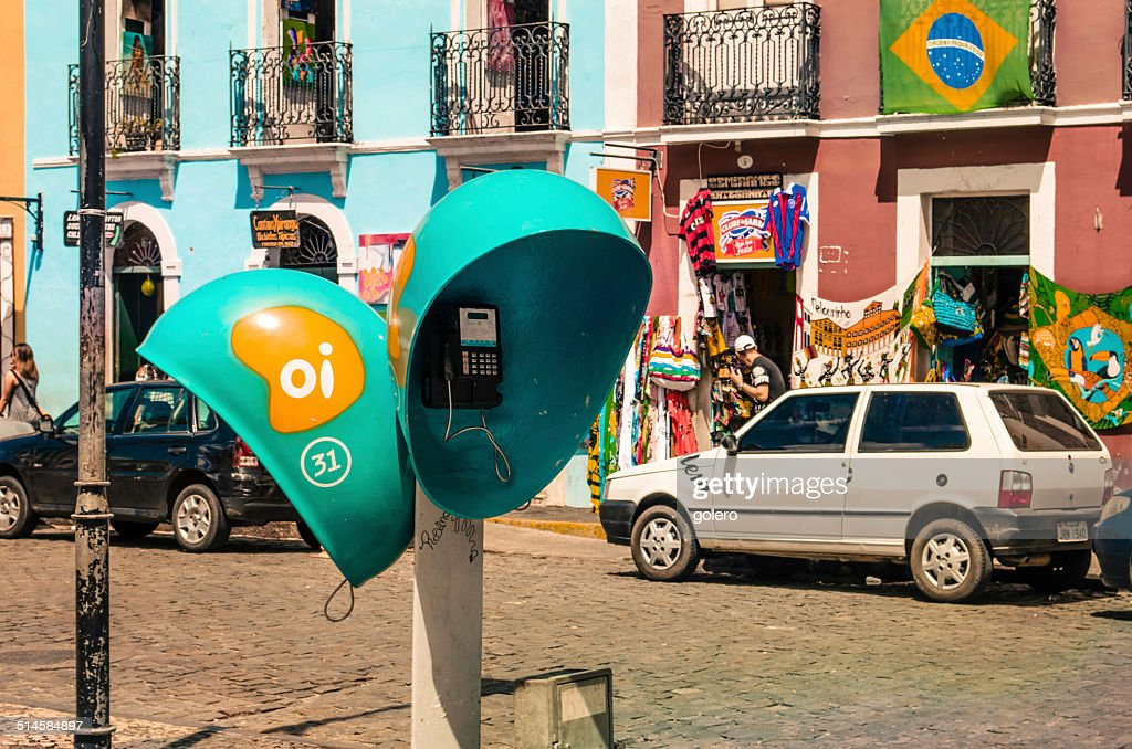 typical brazilian public phone box in shape of ears in historic quarter of salvador