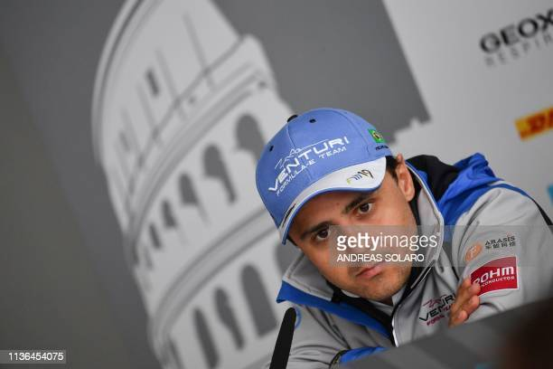 Brazilian pilot Felipe Massa looks on during a press conference before the shakedown of the Rome E-Prix leg of the Formula E season 2018-2019...